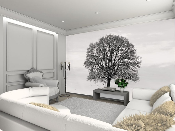 Tree feature wall wallpaper. Comes in 4 easy to hang pieces. Height 2.32m x 3.15m. Can be cut to fit smaller area. Stunning effect. £34.99 plus postage. Please shop at the link below.  http://stores.ebay.co.uk/Littlebrook-Home?_rdc=1