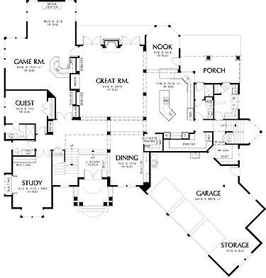 Two story prairie open floor plan house plans for Wine cellar floor plans
