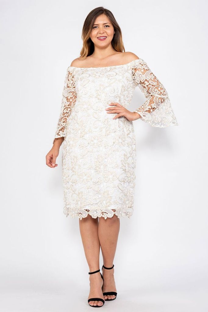 Marina Bell Sleeve Lace Plus Size Off The Shoulder Dress Vestido Casamento Civil Simples Vestidos Vestidos Off White