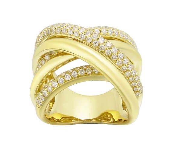 Bague de mariage en or jaune 18 cts et diamant. Anneaux multiples entrelacés sertis de 141 brillants.