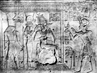 King Seti I offering a figure of the goddess Maat to Osiris, Isis, and Horus; relief in the temple of King Seti I, Abydos, early 13th century bce.