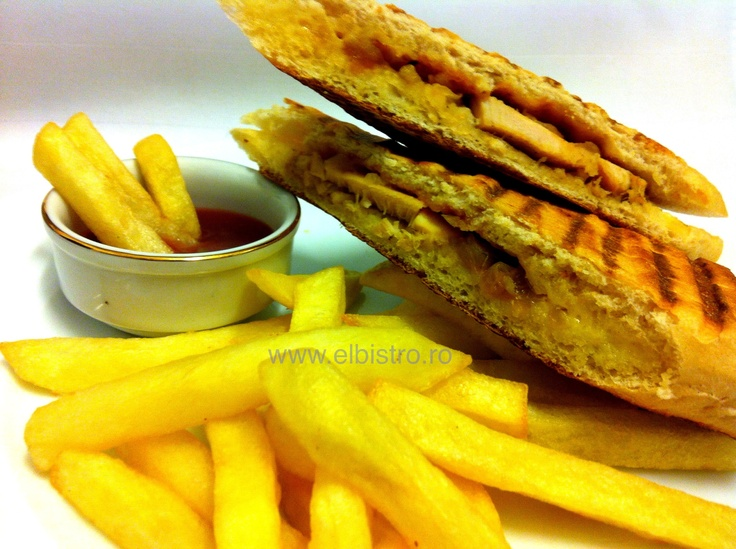 Chicken, brie and caramelized onion sandwich with fries.