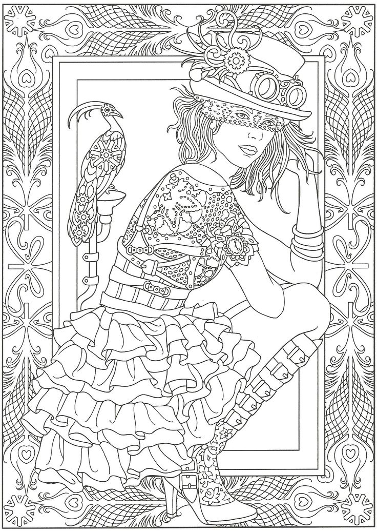 steampunk artwork by marty noble adult coloring page from creative haven steampunk fashions coloring book dover publications davlin publishing