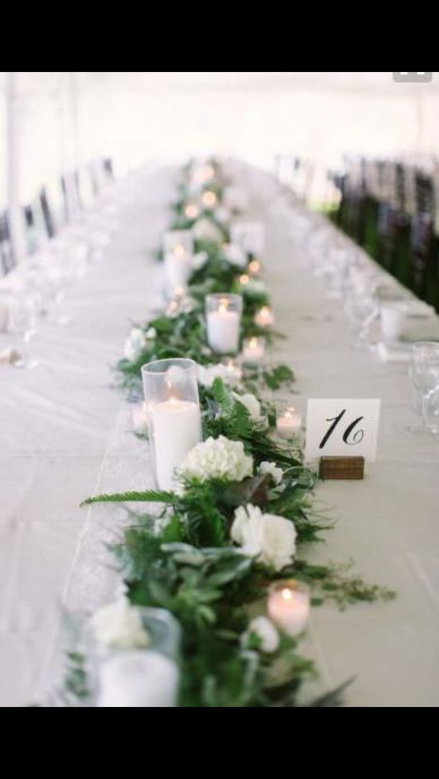 Taller Candles Green Foliage Table Runner Flower Garland
