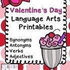 Free Valentine LA Printables!  Great for review of synonyms, antonyms, verbs, and adjectives!  Cute AND fun!!