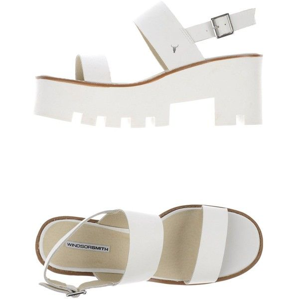 Windsor Smith Sandals ($98) ❤ liked on Polyvore featuring shoes, sandals, white, leather footwear, lug-sole shoes, leather shoes, genuine leather shoes and round cap
