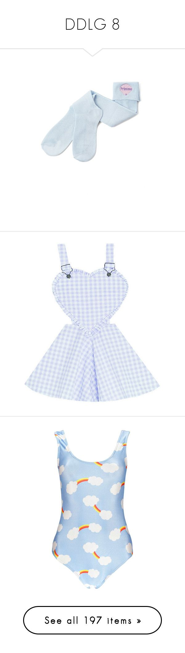 """DDLG 8"" by unicorn-923 ❤ liked on Polyvore featuring intimates, hosiery, socks, clothing - socks, bubble socks, dresses, skirts, overalls, blue and swimwear"