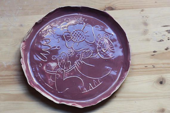 Handmade Ceramic Plate/ Plate for Kids/ Tiger Dish