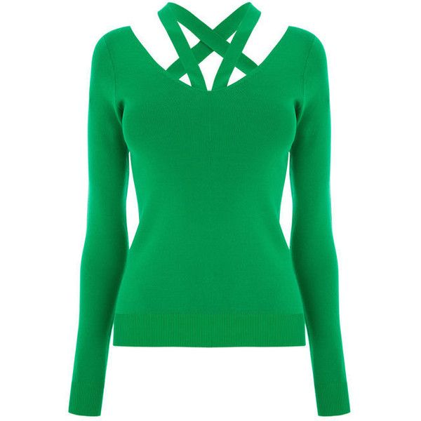 CUT OUT V NECK JUMPER (160 DKK) ❤ liked on Polyvore featuring tops, sweaters, v neck tops, green jumper, v-neck tops, strappy top and green v neck sweater