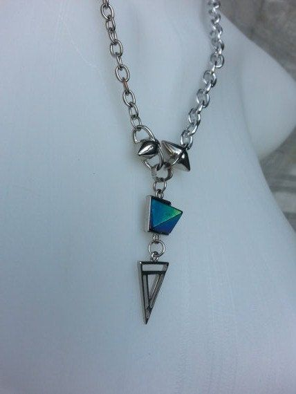 Mixed Chains Necklace in Silver w Bullet Charms, Peacock Blue Pyramid Pendant w Triangle  MEDICINAdesigns, $54.99