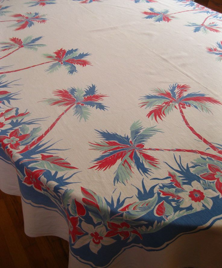 Red white blue vintage | Red white and blue vintage 1940s tropical tablecloth with palm trees ...