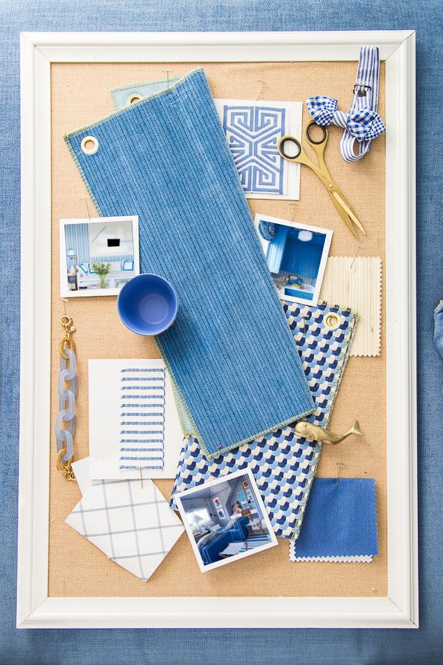 One Room Challenge, week 3 - the color scheme is bright, happy blues inspired by Mark Sikes and include a gorgeous striated velvet paired with a fun check pattern. Check out the awesome trims, and more before shots at www.pencilshavingsstudio.com