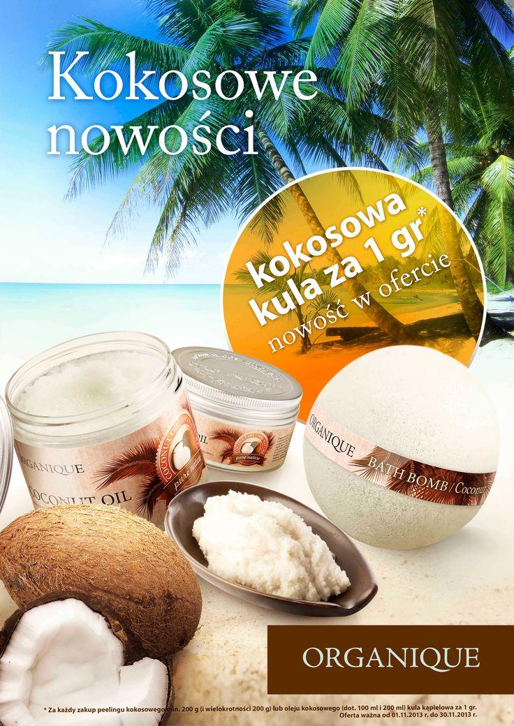 Kokosowe nowości – Kula kokosowa za 1 gr.  W listopadzie nowość w prezencie – przy zakupie nowego peelingu kokosowego lub oleju koksowego kula kąpielowa kokos za 1 grosz.!
