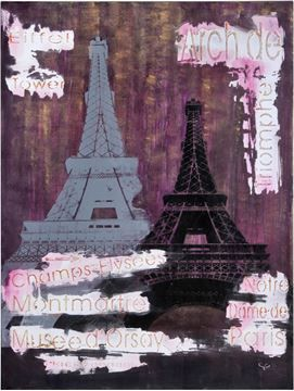 $99, Notre Dame  Wall Art OL1024, 64'' x 4'' x 24'', a deep purple backdrop silhouettes the Eiffel Tower from the city of love. Featured is the most romantic symbol of Paris on hand painted canvas.