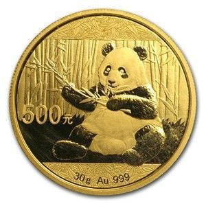 2017 China Panda Gold Coins - The new 2017 Pandas will adhere to the metric system of measurement and will weigh 30 grams (.9645 ounces) instead of one full ounce.  All Pandas are guaranteed to be in Gem Brilliant Uncirculated condition, and with the annual change in design, and unique mint variations, the price of Gold Pandas has appreciated over time making them highly sought after by collectors and investors.