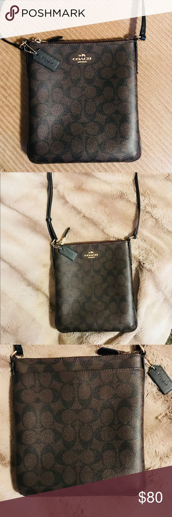 """Coach signature crossbody purse Brown with signature CC in black. Coated canvas with zippered top closure and gold hardware and gold COACH name plate. One slip pocket inside. Long crossbody strap. Appx 8"""" wide, 9"""" High, .75"""" deep. Used twice. No sign of wear, looks brand new!! Coach Bags Crossbody Bags"""