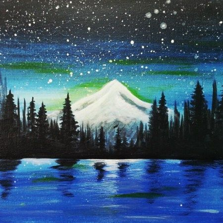 Trillium Lake, beginner painting idea