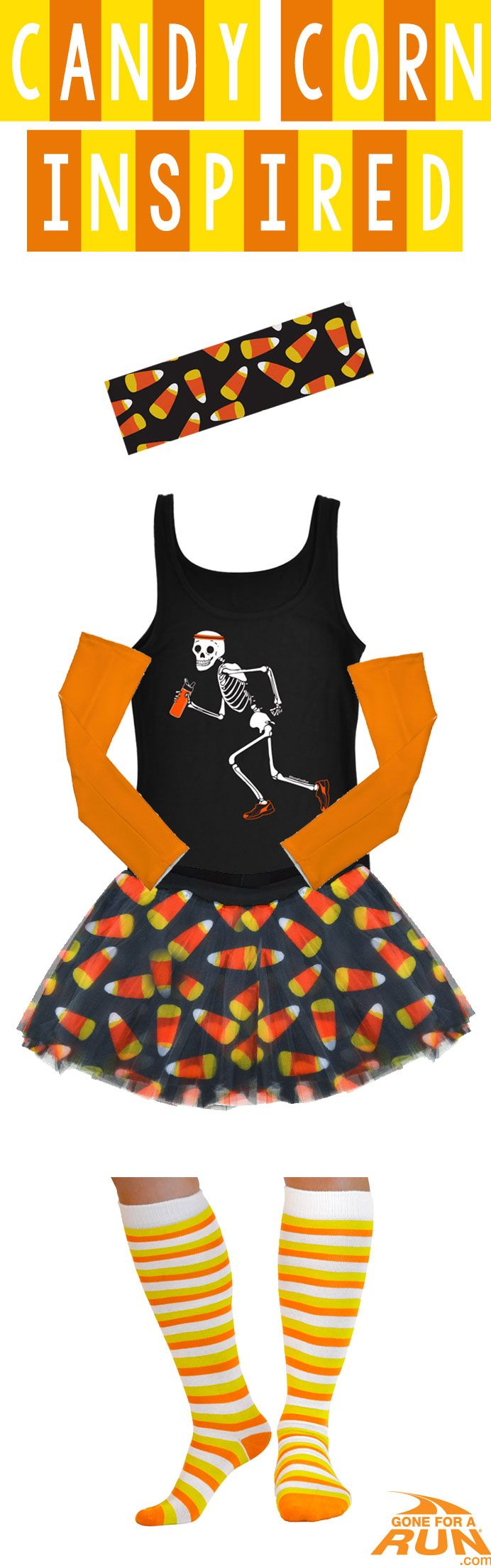 Trick or treat? More like trick or run! Get in the #Halloween spirit with our Halloween inspired running apparel! From shirts to socks and more, you'll find something to suit you and your running friends haunted moods! Make up your own costume, or check out one of our original ideas! Make your run as sweet as candy with this Candy Corn inspired Halloween runner's costume!