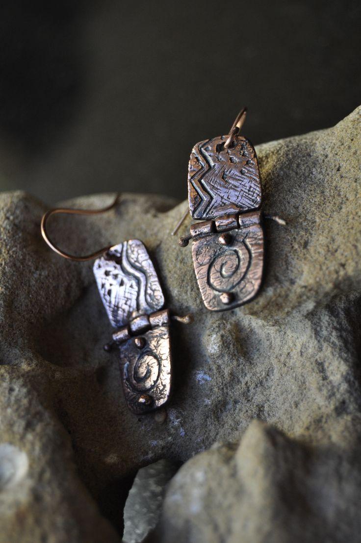 Africa II - Art Clay Copper ethnic hinged earrings - by VAN VUUREN Designs