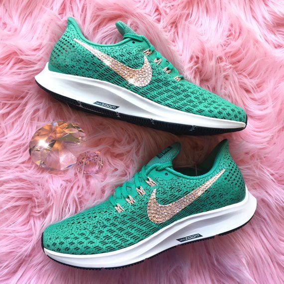 fb7676f3dfc NEW Bling Nike Air Zoom Pegasus 35 Shoes with Swarovski Crystals   Green