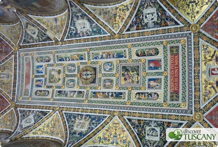 The colorful ceiling in the Piccolomini Library