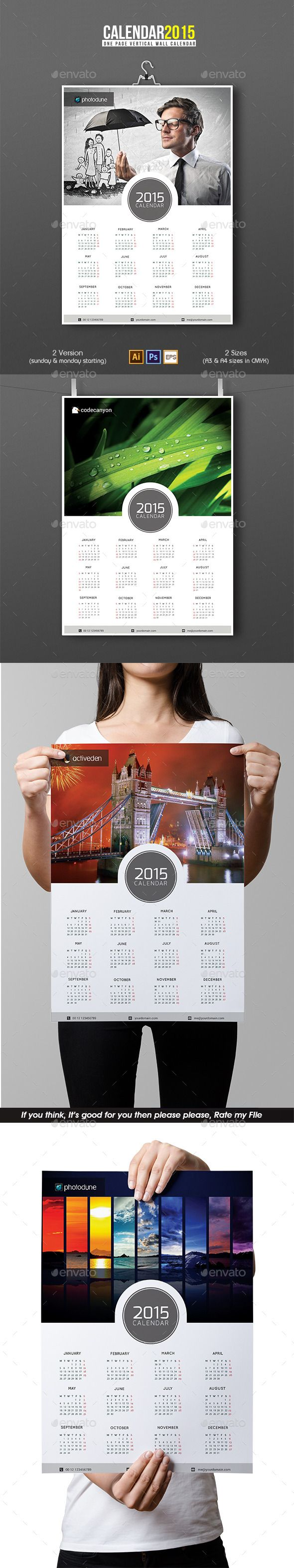 Wall Calendar 2015 Template | Buy and Download: http://graphicriver.net/item/wall-calendar/9660803?ref=ksioks