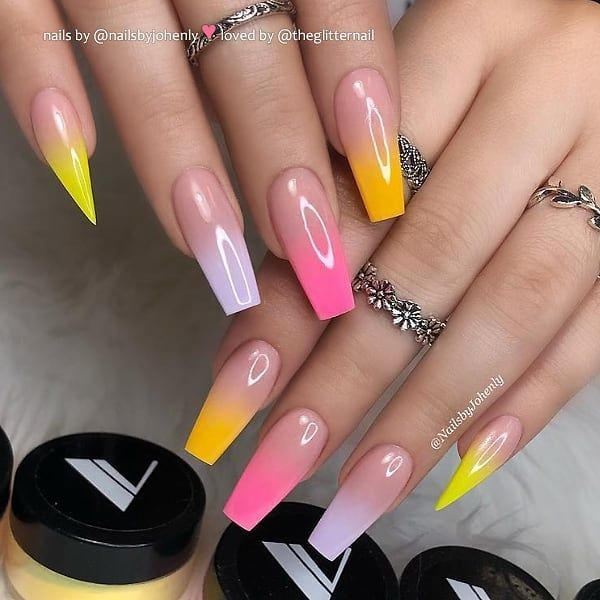 Colorful Ombre On Coffin Stiletto Nails Nail Artist Nailsbyjohenly Follow Her For More Gorgeous Nail Art Des Coffin Nails Designs Nails Now Nails