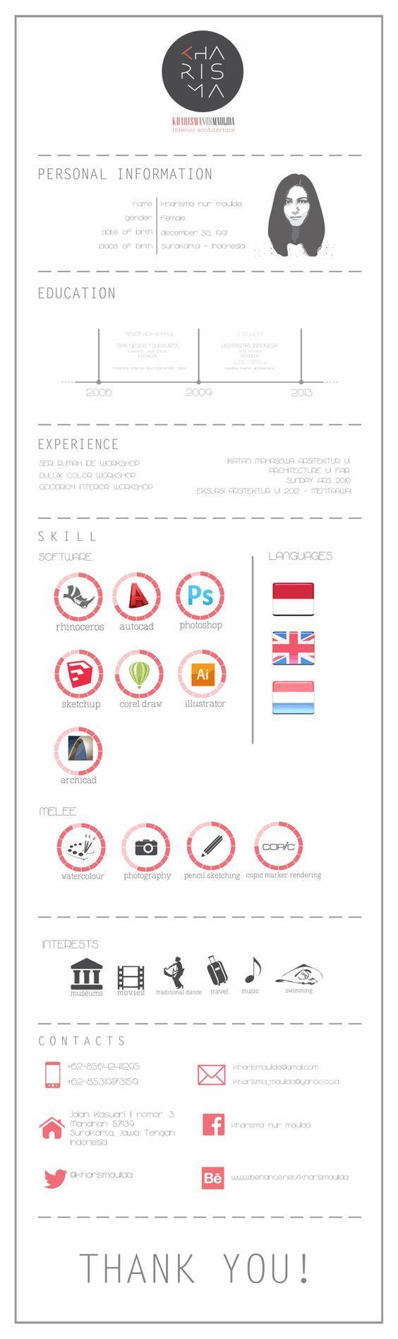 Personal Resume Templates 14 Best Cv  Resumé Images On Pinterest  Resume Design Cv Template .