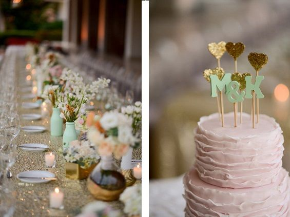 Mint, gold and peach - a whimsical palette for a modern wedding. Photos by Katherine Stinnett Photography via Ruffled.