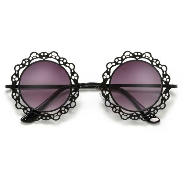 Metallic Retro Round Frame with Laced Pattern Cut-Outs (66.505 IDR) ❤ liked on Polyvore featuring accessories, eyewear, sunglasses, retro wayfarer sunglasses, retro sunglasses, aviator sunglasses, round aviator sunglasses and round frame glasses