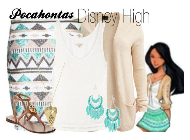 """""""Pocahontas Disney High"""" by amarie104 ❤ liked on Polyvore featuring VILA, rag & bone, Tory Burch and House of Harlow 1960"""