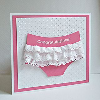 Cute baby girl card.  <3  I just LOVE ruffle-butts!                                                                                                                                                     More