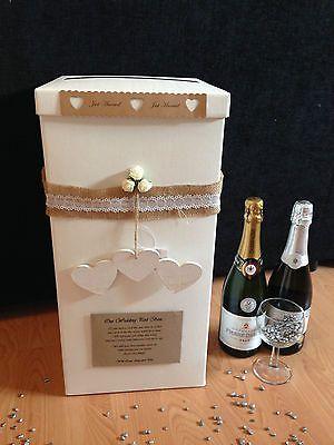 Personalised Wedding Card Post Box - Hanging Wooden Triple Heart - Rustic