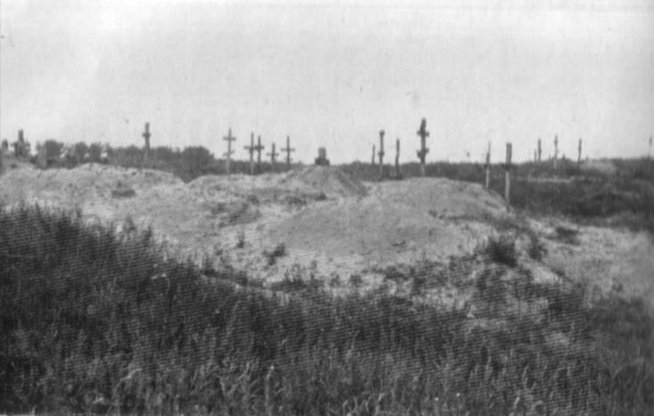 The corpses of those who died of starvation are buried in mass graves.