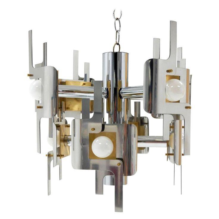 1970s gaetano sciolari sculptura chrome and brass chandelier lamp - Brass Chandelier
