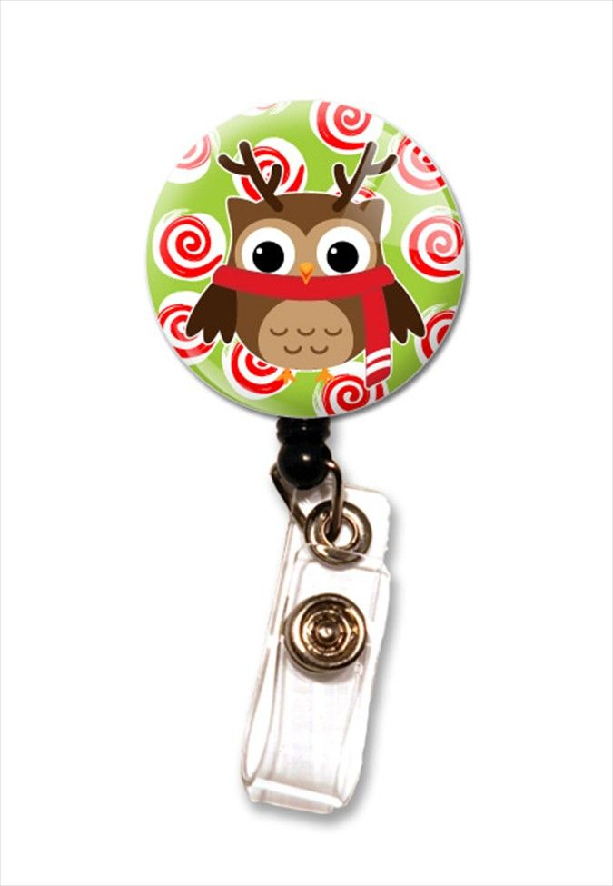 Initial This Holiday Owl badge holder. - Scrubs and Beyond