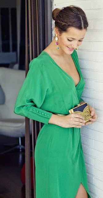 Women's fashion | Chic emerald green dress, statement earrings, clutch