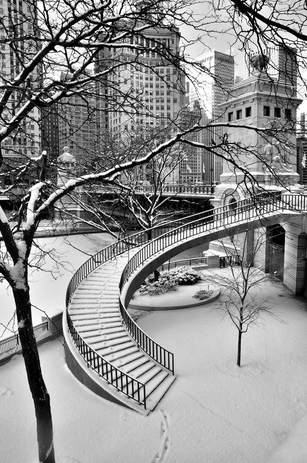 """Footsteps in the Snow"" by Jim Watkins, via 500px. Chicago"