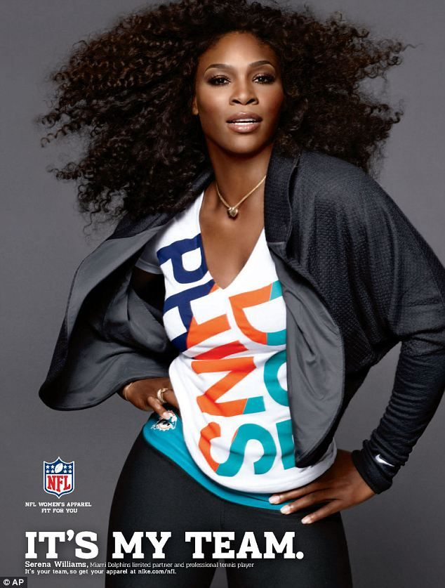 Serena Williams sporting a Miami Dolphins jersey from the new It's My Team line