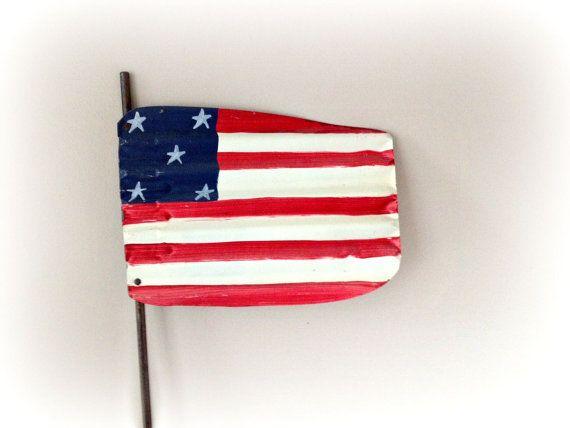 American Flag Rustic Corrugated Metal Flag by vintage19something