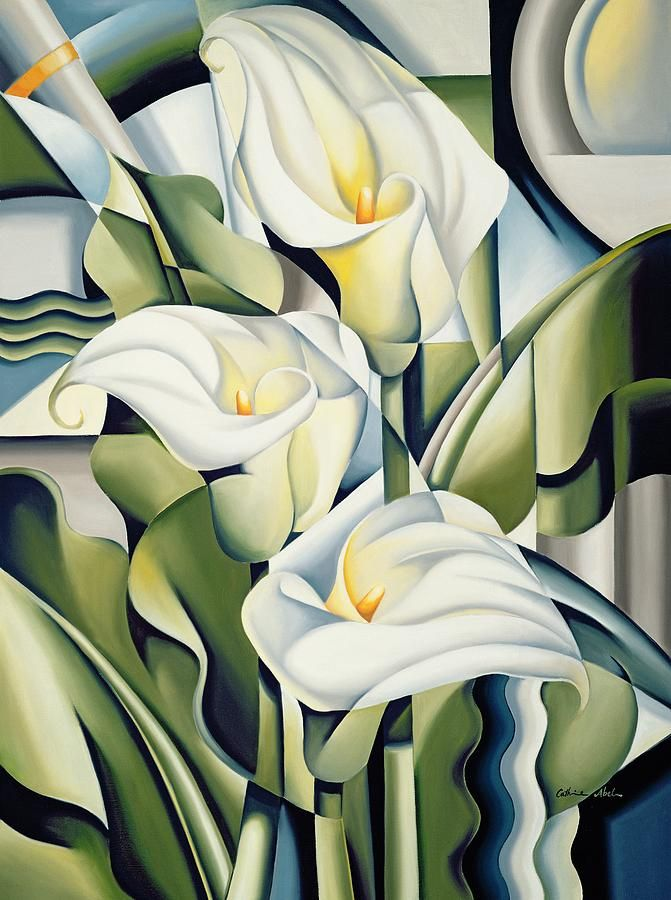 This ready to hang, gallery-wrapped art piece features three abstract white lilies. Long inspired by the art movements and the bold angular shapes of the early 20th century, Australian artist Catherin