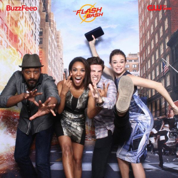 "The ""The Flash"" cast, Danielle Panabaker, Grant Gustin, Candice Patton, and Jesse L. Martin - - - Why do people never put the names in the same order that the people in the photo are shown?"