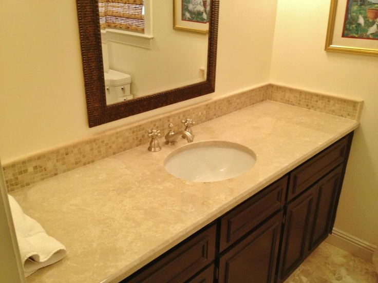 Vanity Backsplash To Match Travertine Accent Strip In Tub