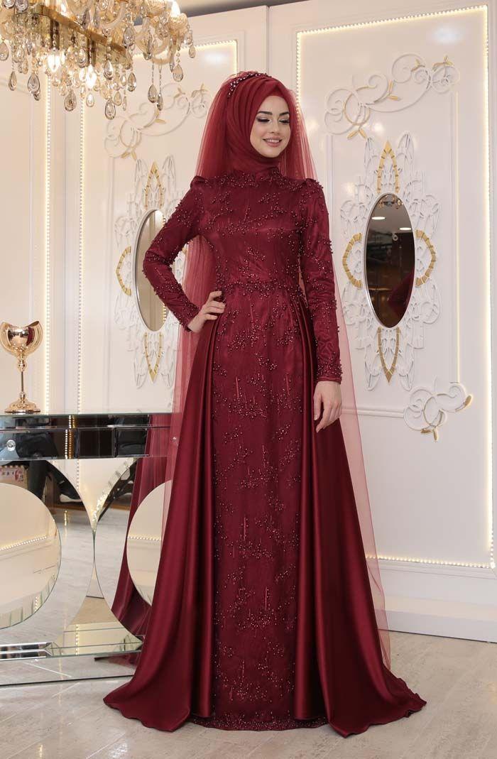 aa896f4d9ca6a Pınar Şems Bordo Tesettür Abiye Modelleri | Tesettür | Moda, Giyim ...
