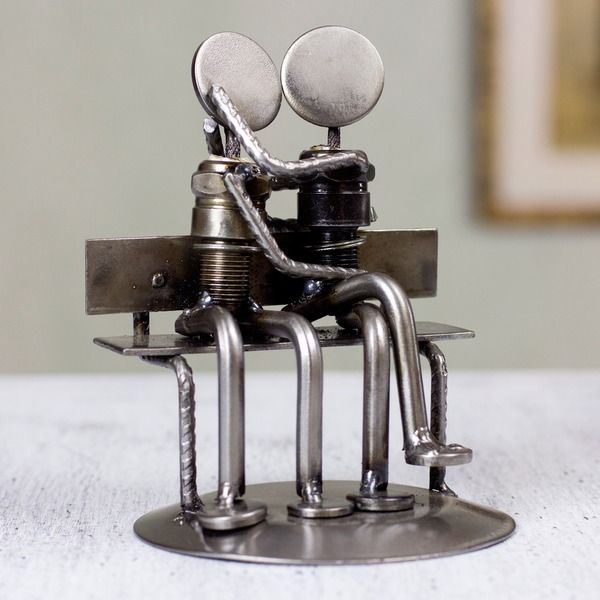 Iron 'Park Bench Sweethearts' Statuette  , Handmade in Mexico