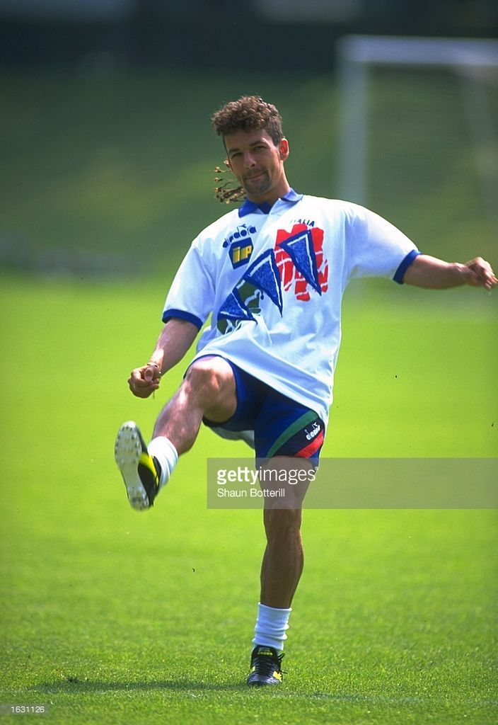 Roberto Baggio of Italy in action during training for the World Cup.  Mandatory Credit: Shaun Botterill/Allsport