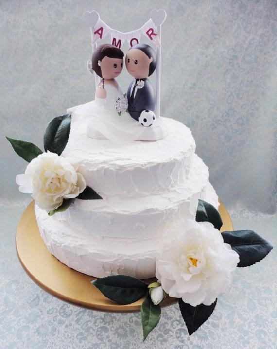 Custom Hand Painted Wooden Wedding Cake Toppers AMOR By DSMeeBee 10000
