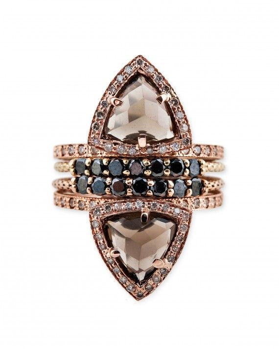 Jacquie Aiche smokey topaz triangle pyramid stack ring, $2,125, JacquieAiche.com.