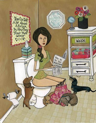 Treat Your Wiener Good ~ Jamie Morath Art mixed media painting, bathroom, toilet, humor, funny, You can tell a lot about a person by how they treat their wiener, floral skirt, doxie, dachshund, wiener dog, flowers, soap