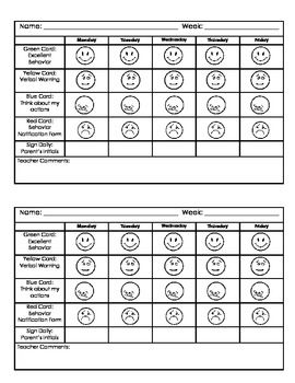 preschool behavior plan of action form | Kindergarten Behavior Chart